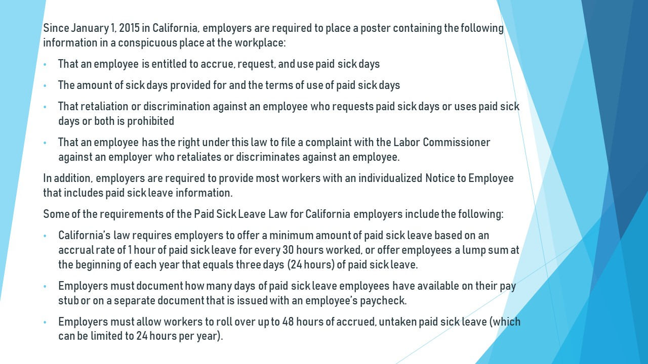 paid sick leave info